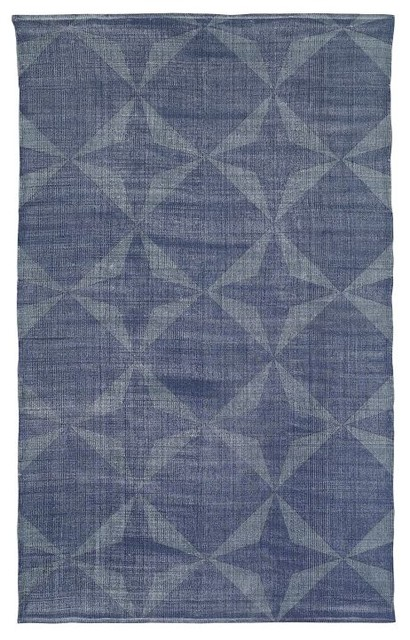 Washed Hexagonal Tile Printed Dhurrie contemporary rugs