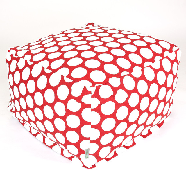 Indoor Red Hot Large Polka Dot Large Ottoman contemporary-footstools-and-ottomans