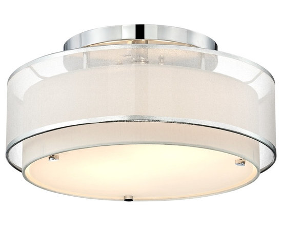 """Possini Euro Design - Possini Euro Design Double Organza 16"""" Wide Ceiling Light - A round soft outer shade made of sheer organza fabric surrounds an off white solid diffuser shade in this flushmount ceiling fixture. Impeccable contemporary details include glistening chrome accents and hardware. This simple and elegant fixture from Possini Euro Design will transform your decor from the ceiling down. Chrome finish. Organza fabric outer shade. Off-white diffuser shade. Takes two 60 watt bulbs (not included). 16"""" wide. 8"""" high.  Chrome finish.    Sheer organza fabric outer shade.   Off-white diffuser shade.   Takes two 60 watt medium base bulbs (not included).   16"""" wide.   8"""" high.  Canopy is 9"""" wide 1""""high."""