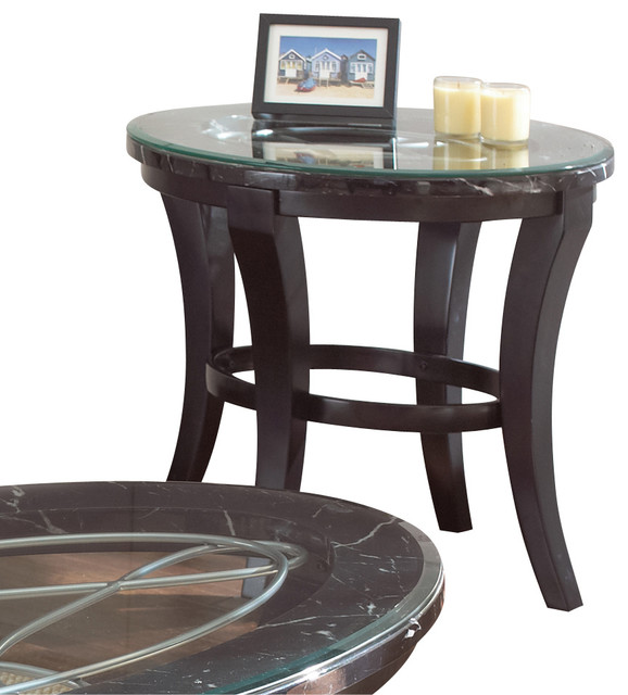 Steve Silver Cayman End Table With Faux Marble And Glass