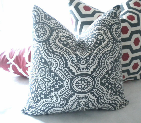 Charcoal and light Ivory print pillow cover transitional-decorative-pillows