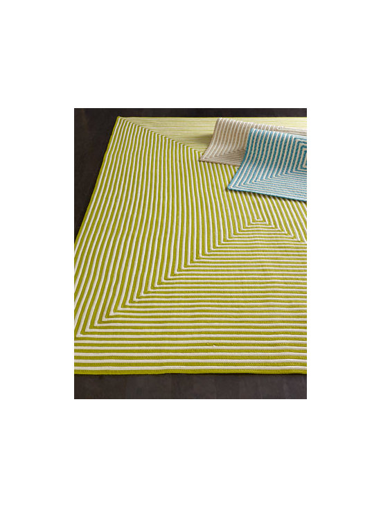 "Horchow - ""Hideaway Stripe"" Indoor/Outdoor Rug - Stripes arranged in a geometric pattern of concentric rectangles make this a fun rug for indoor or outdoor spaces. Hand braided of polypropylene. Available in an array of colors; select color when ordering. Outdoor safe. Sizes are approximate. Impo..."