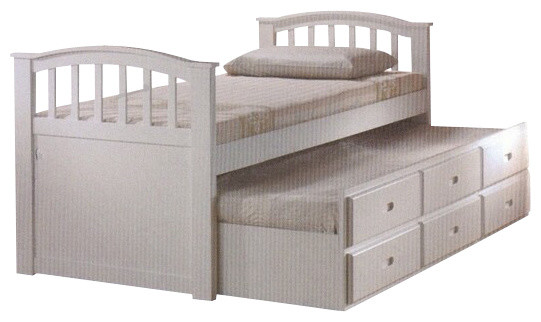 white finish wood twin bed with pull out trundle bed with storage drawers contemporary kids. Black Bedroom Furniture Sets. Home Design Ideas