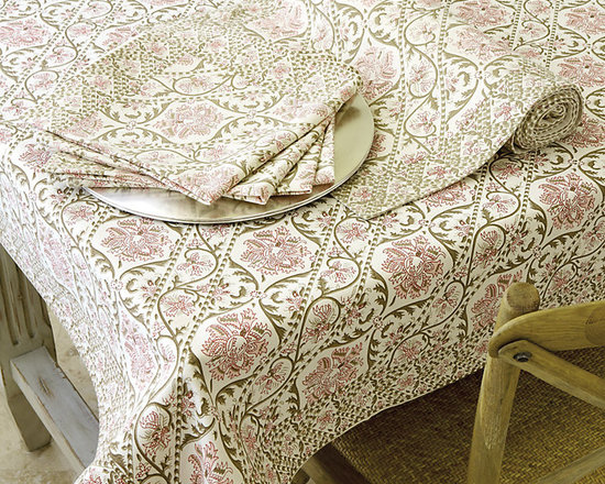 Ballard Designs - Adair Tablecloth - Coordinates with our Adair Table Runner & Napkins. Machine washable. The faded pink and taupe floral pattern of our Adair Table Linen Collection are printed on soft 100% cotton for a fresh, end-of-summer look.Adair Table Linens feature: . .