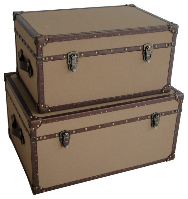 Valencia Rectangle Canvas Trunks traditional-decorative-trunks