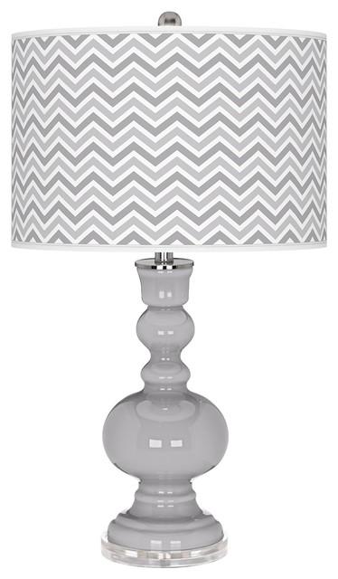 Contemporary Swanky Gray Narrow Zig Zag Apothecary Table Lamp contemporary-table-lamps