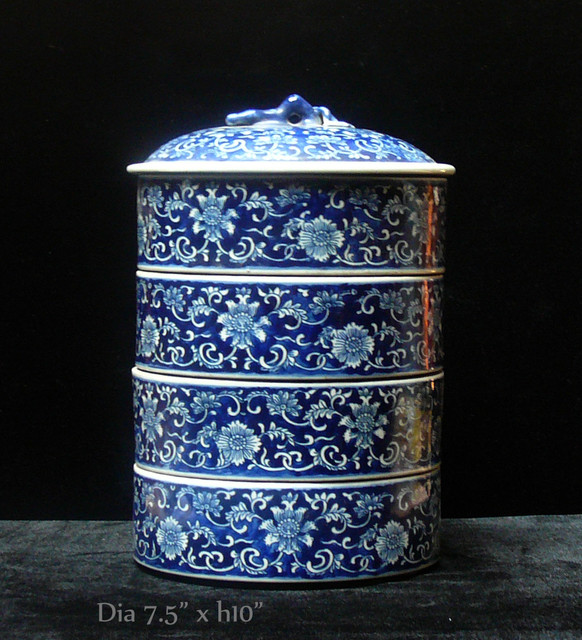 Porcelain Round Shape Blue & White Stack Candy Box asian-home-decor