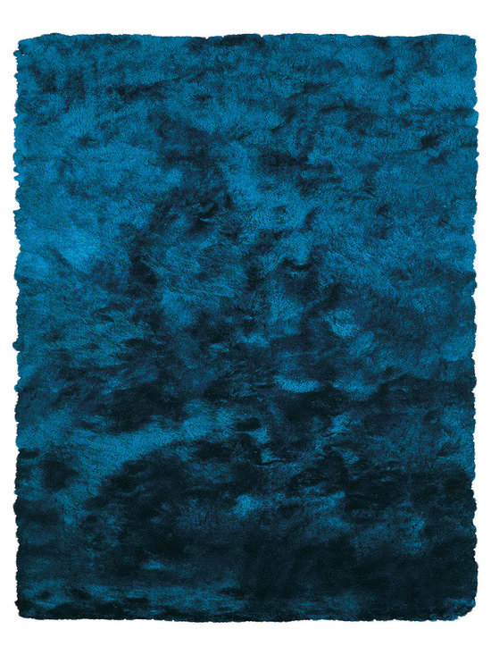 None - Isleta Teal  Area Rug (7'6 x 9'6) - The Isleta rug is a wonderfully plush and luxurious shag that has been table tufted of art silk and simulates the feel of animal fur. The sheen that this rug possess makes them a playful addition to more casual,contemporary settings.