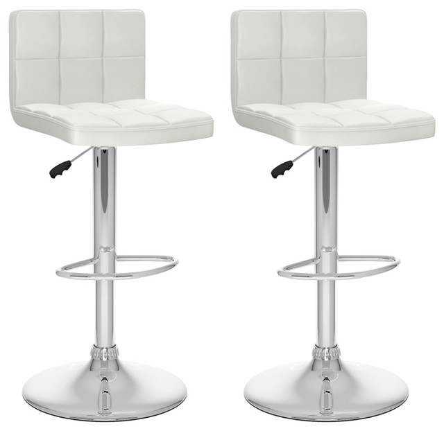 bar stool in white leatherette set of 2 contemporary bar stools