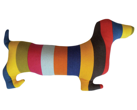 Naked Decor Rainbow Doxie Silhouette Pillow