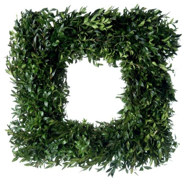 Square Fresh Boxwood Wreath contemporary-wreaths-and-garlands