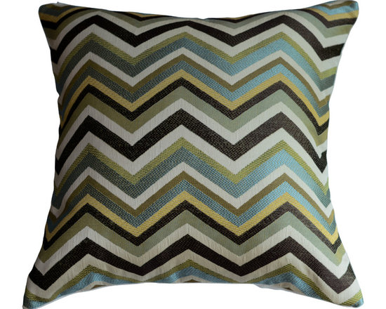 KH Window Fashions, Inc. - Chevron Pillow Cover in Mineral/Aqua/Lt. Green/Brown/Gold/Ivory - Chevron pillow in aqua, lt. green brown, gold and ivory. Perfect to toss on your bed or sofa.