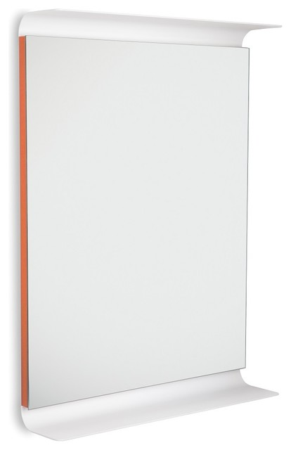 Curva 5689 LED Lighted Wall Mirror with Shelves, Orange - Contemporary ...