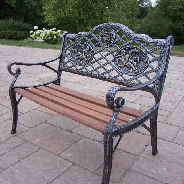 Oakland Living Angel Cast Iron Patio Kiddy Bench Antique Pewter Modern Outdoor Benches