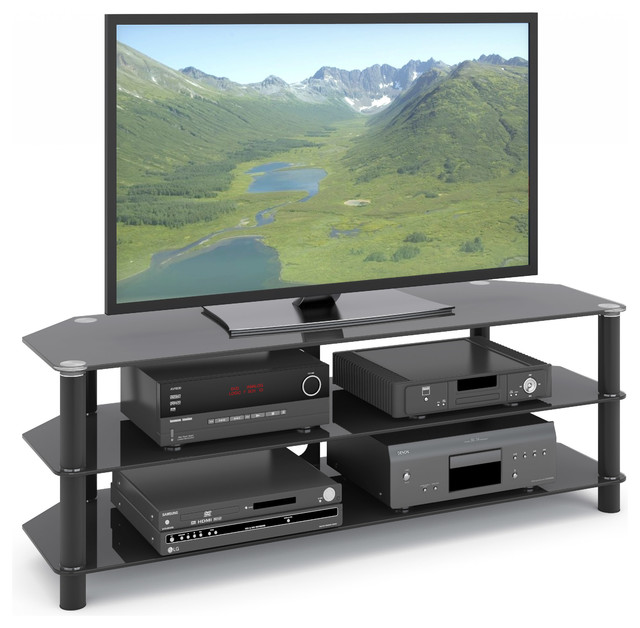 Trinidad Black Glass TV and Component Stand - Contemporary - Entertainment Centers And Tv Stands ...