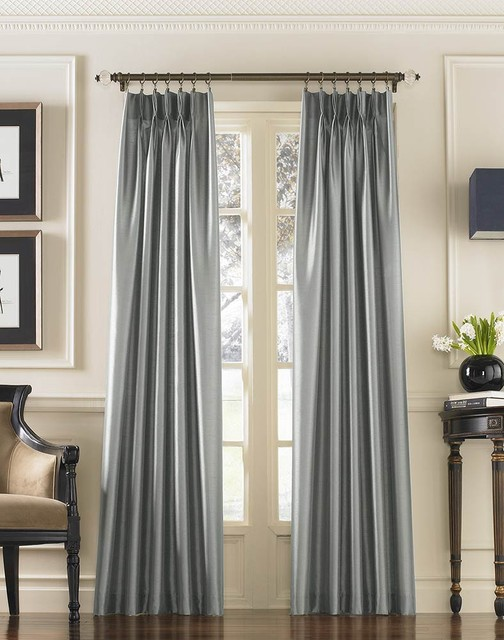 Marquee Shimmering Faux Silk Pinch Pleat Drape traditional-curtains