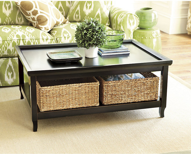 Morgan cocktail table with woven basket transitional coffee tables by ballard designs Coffee table with wicker baskets