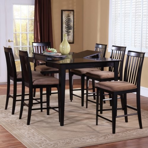 Montreal 7 Piece Butterfly Pub Table Set Contemporary Dining Tables