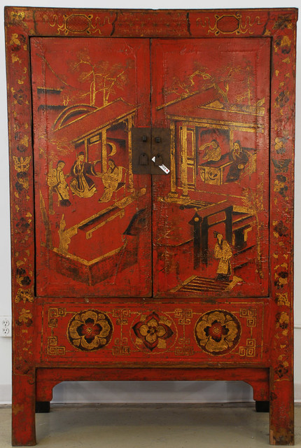 Red Lacquered Chinese Cabinet with Gold Painting - Asian - new orleans - by Silk Road Collection