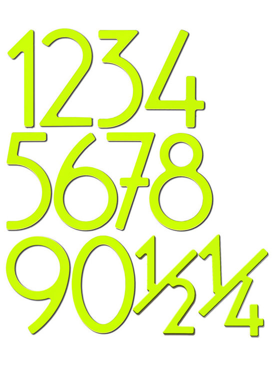 COLOR! Numbers by houseArt.net in Key Lime lucious! - 3,5 & 8 inch numbers by houseArt.net in lucious happy Key Lime. Note that the 1/2 and 1/4 characters are available!