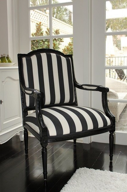 Black And White Stripe French Chair Beach Style Dining