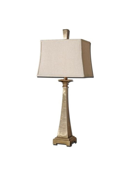 Uttermost Sordo - Brushed metal finished in a plated coffee bronze. The rectangle semi bell shade is a khaki linen fabric with natural slubbing