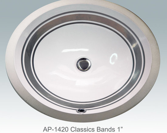 "Hand Painted Undermounts by Atlantis Porcelain - ""CLASSIC BAND 1"" Shown on AP-1420 white Monaco Medium undermount 17-1/4""x14-1/4"".Available on burnished gold or platinum and bright gold or platinum on any of our sinks."
