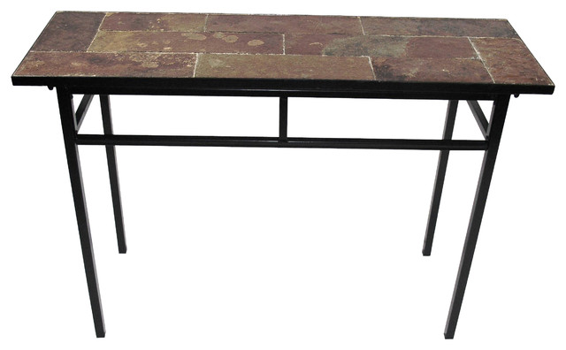 Sofa Console Table : 4D Concepts Sofa Table w/ Slate Top in Metal - Rustic - Console Tables ...