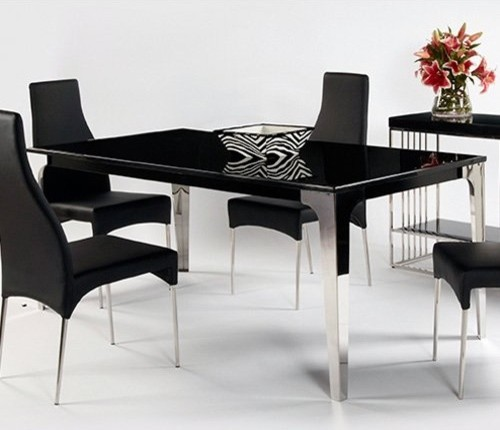 Chintaly Crystal Black Marble Dining Table