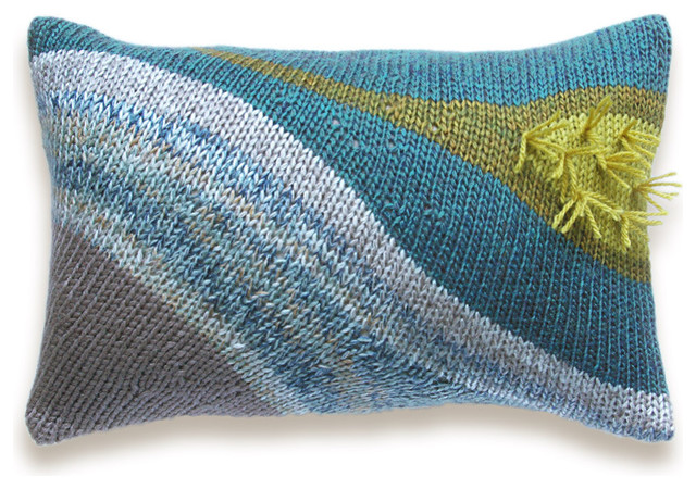 Abstract Knit Pillow Cover In Beige Teal Mustard 12 X 18