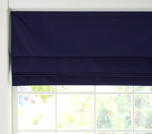 Twill Cordless Roman Shade With Blackout Lining Navy