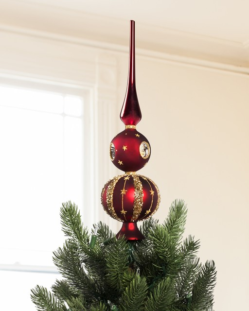 Products christmas tree toppers and finials for Maroon christmas tree decorations