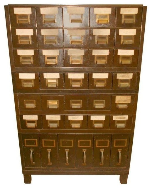 Used Vintage Industrial Steel File Cabinet traditional-filing-cabinets ...