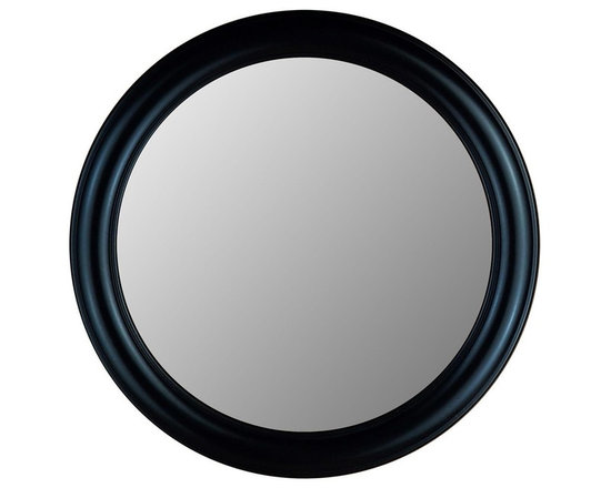 Hitchcock Butterfield - Black Decorative Round Accent Mirror - 770 Se - Choose Size: 29 in. Dia.Includes four hooks for vertical or horizontal display. Made in the USA. True Black finish. 23 in. Dia.. 29 in. Dia.. 35 in. Dia.