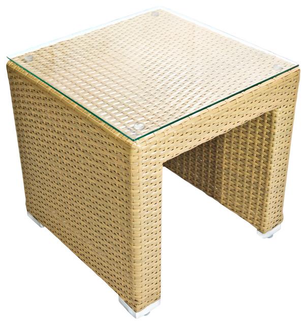 Outdoor Patio Wicker Side Table Honey Almond