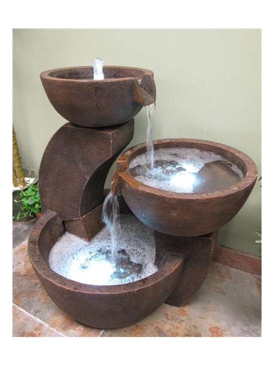 Garden Fountains - Made of durable outdoor poly-resin, this  garde fountain has three tiered pools of lighted water that spill from one to the next. Includes a pump and three LED underwater lights.