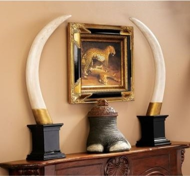 british colonial elephant tusk sculptural trophy eclectic home decor by design toscano