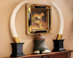 British Colonial Elephant Tusk Sculptural Trophy eclectic accessories and decor