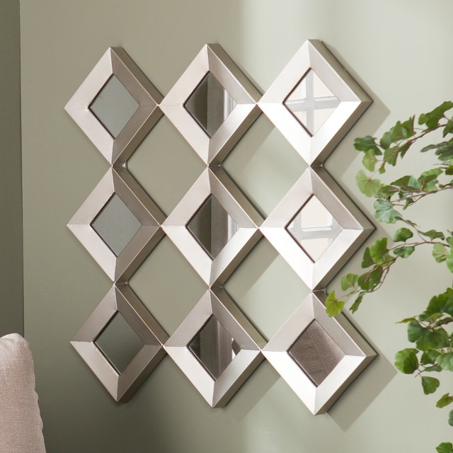 Upton home diamante mirrored squares wall sculpture contemporary sculptures by - Wall decor mirror home accents ...
