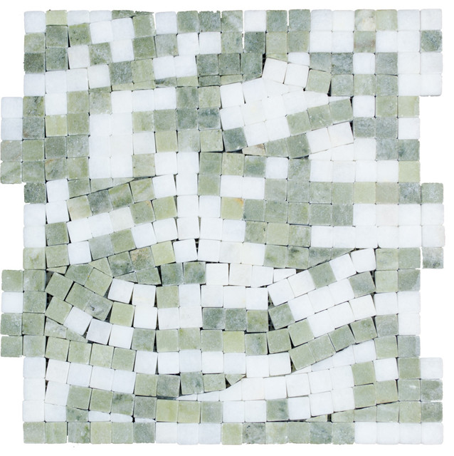 Stonetileus 10 pieces (10 Sq.ft) of Mosaic Secret Real White Verde Laguna -Tumbl contemporary-wall-and-floor-tile
