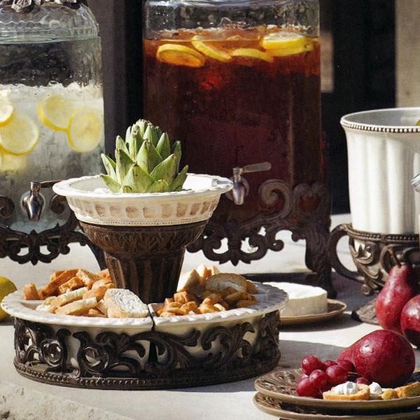 The GG Collection - Crudites Set w/ Burnished Bronze Pedestal traditional-platters