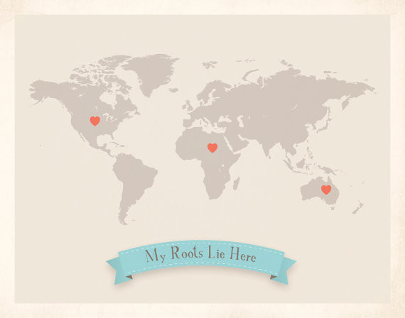 Roots World Map Customized Print, Gray by My Roots contemporary-artwork
