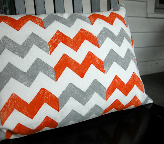 Tangerine And Gray Chevron Hand-Printed Lumbar Pillow Case By Giardino contemporary pillows