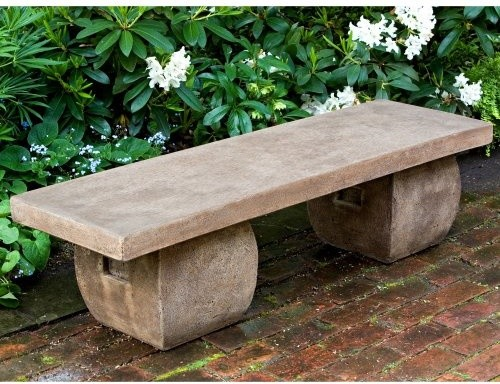 Campania International Ryokan Cast Stone Backless Garden Bench contemporary outdoor stools and benches