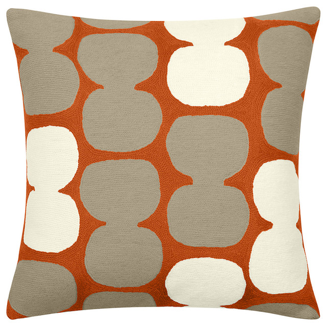 Tabla Pillow Coral/Oyster/Cream - pillows - chicago - by Belle and ...