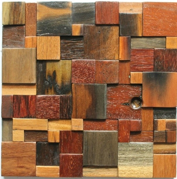 ancient wood mosaic tile backsplash natural wood mosaic pattern