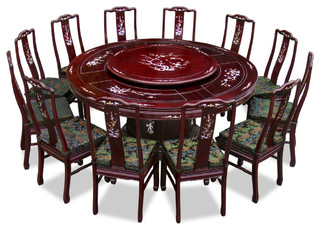 72in Rosewood Pearl Inlay Design Round Dining Table With