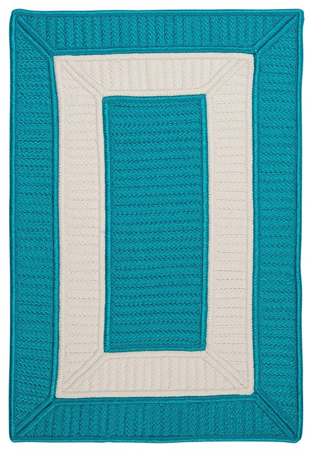 Indoor Outdoor Rope Walk Turquoise Rug 5 x 8