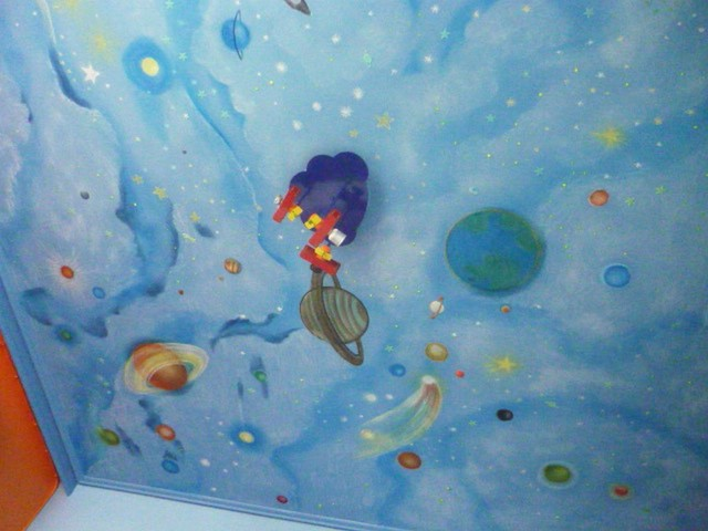 kids room space theme mural hand painted