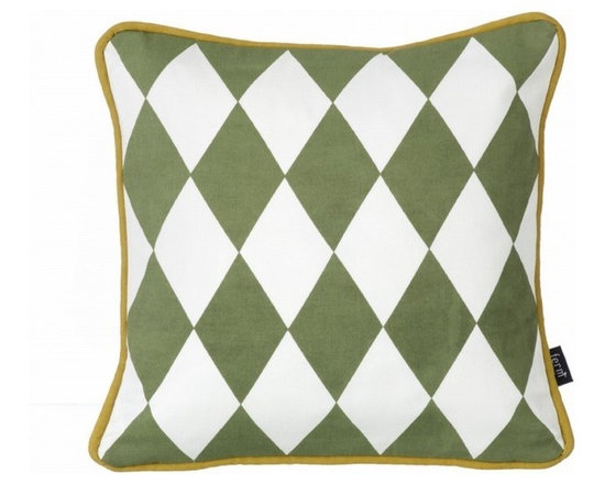 Ferm Living Organic Olive Little Geometry Pillow - Ferm Living Organic Olive Little Geometry Pillow